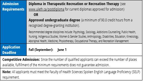 Bachelor of Therapeutic Recreation | University of Lethbridge