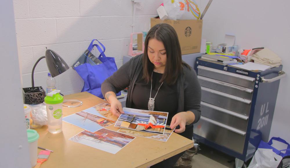 Art student working in her studio