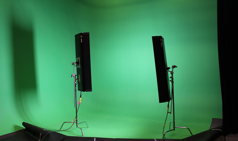 green screen illuminated with lights
