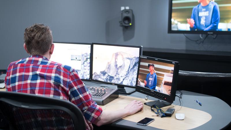 student editing video