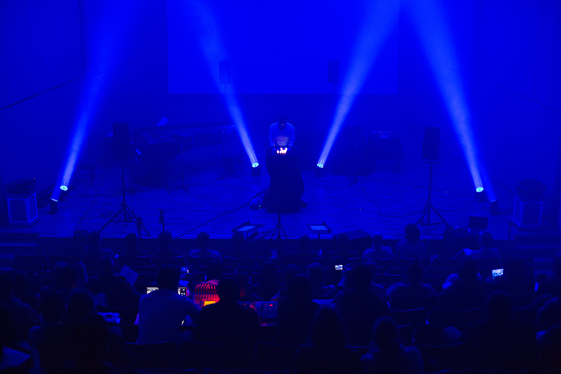 Electro Acoustic Concert in recital hall with blue lights