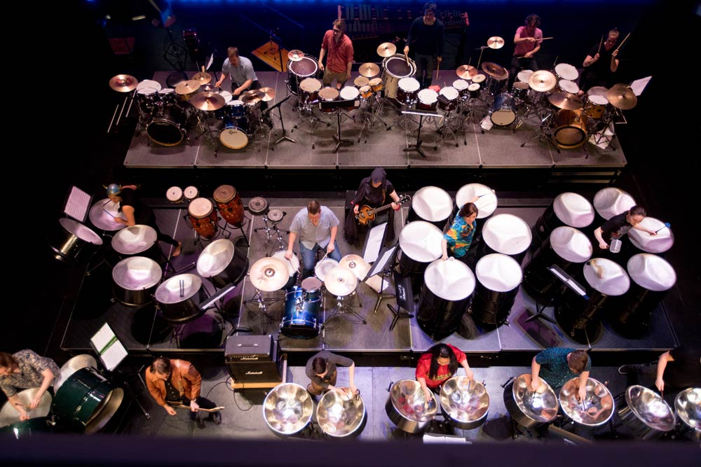 Overhead image of steel drums and drumsets