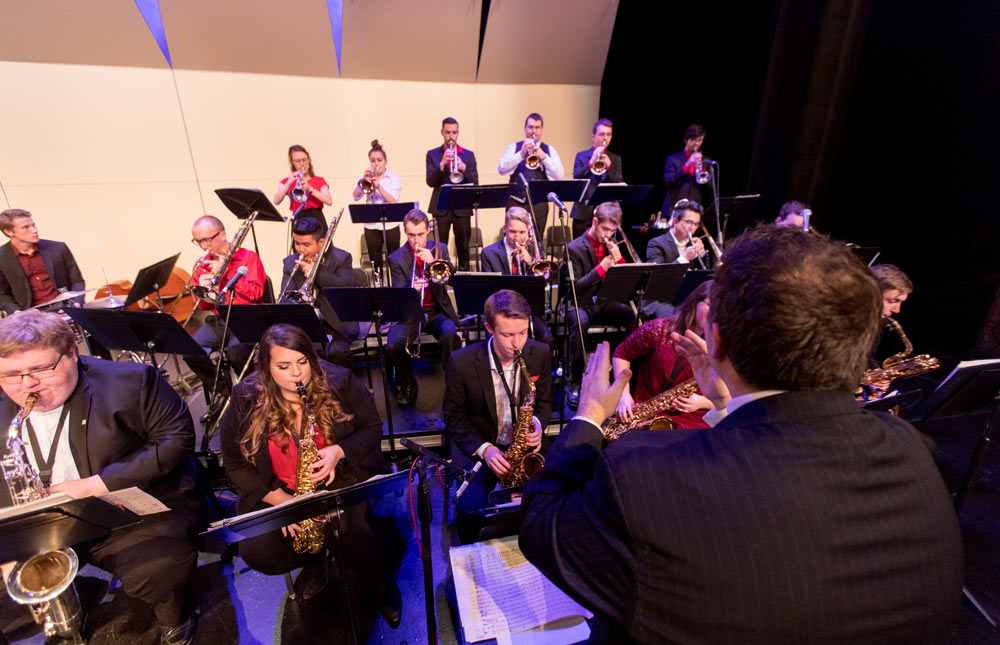 Jazz ensemble performing in main theatre