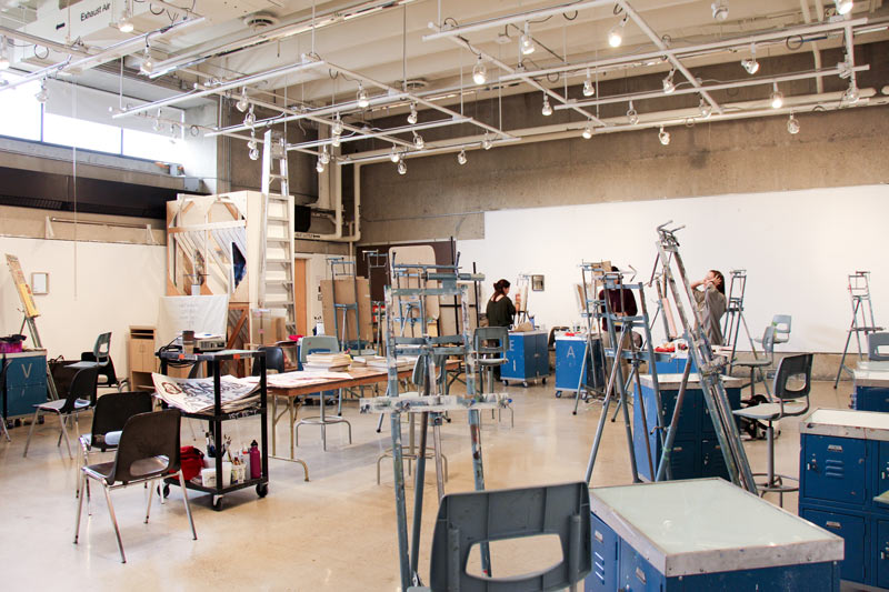 Painting studio full of easels and painting stations