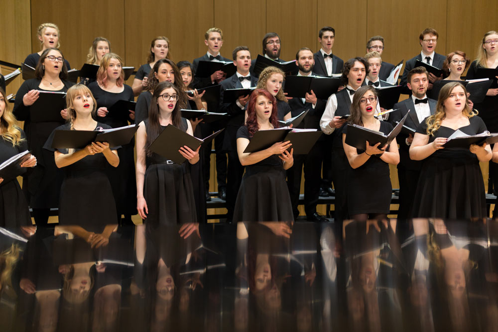 Choir singers in concert