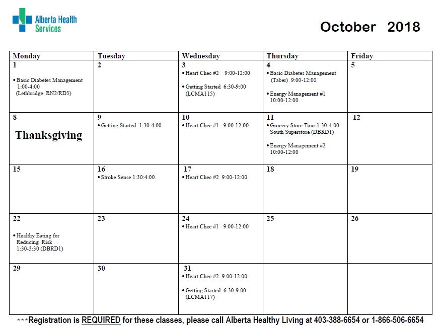 here you can find monthly class calendars provided by the alberta healthy living program