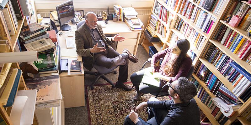Students in professor's office