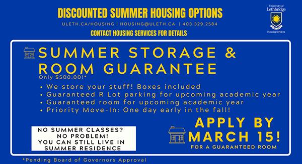 Summer Storage & Room Guarantee