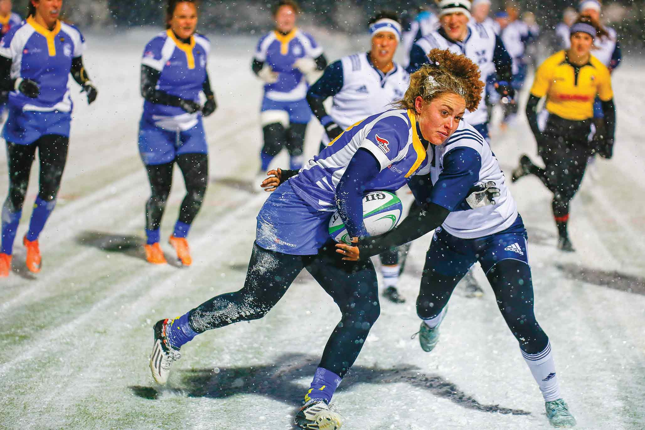Rugby players in the snow