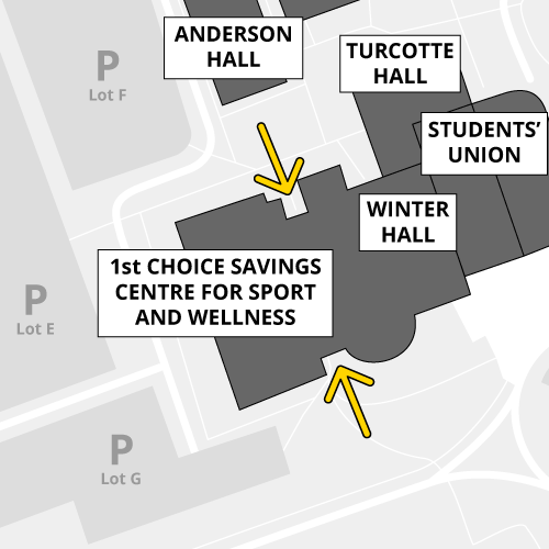 North and south doors of the 1st Choice Savings Centre are open during business hours