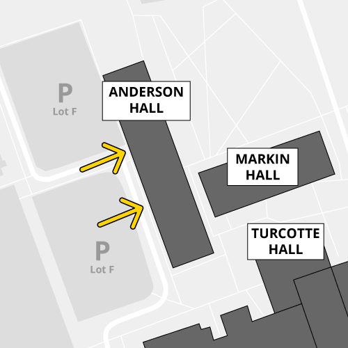 The west doors of Anderson Hall are open during certain hours