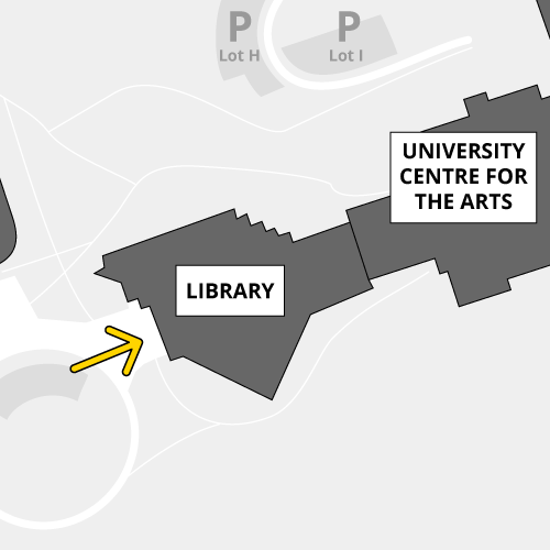 The Library is accessible by proximity card only, at the bus loop doors
