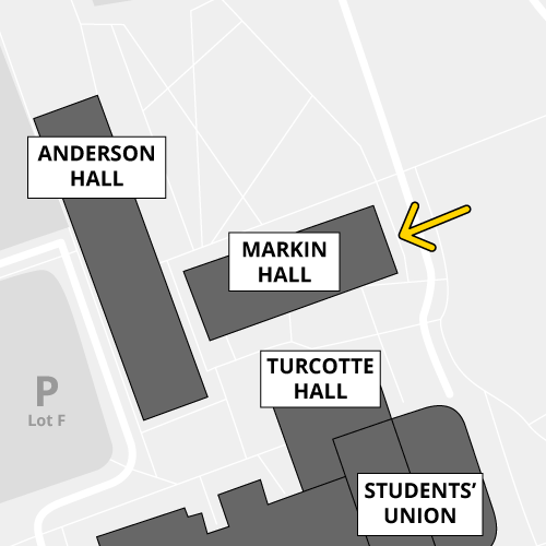 The east doors of Markin Hall are accessible by proximity card only
