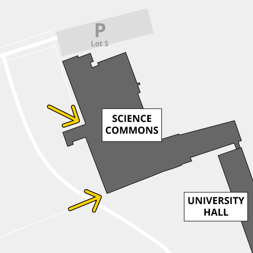 The west doors of Science Commons are accessibly by proximity card only