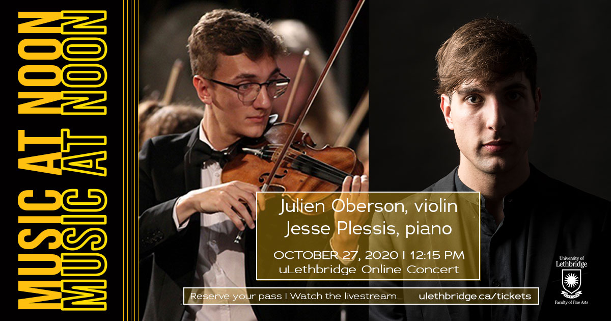 Music at Noon featuring Julien Oberson, violin and alumnus Jesse Plessis, piano