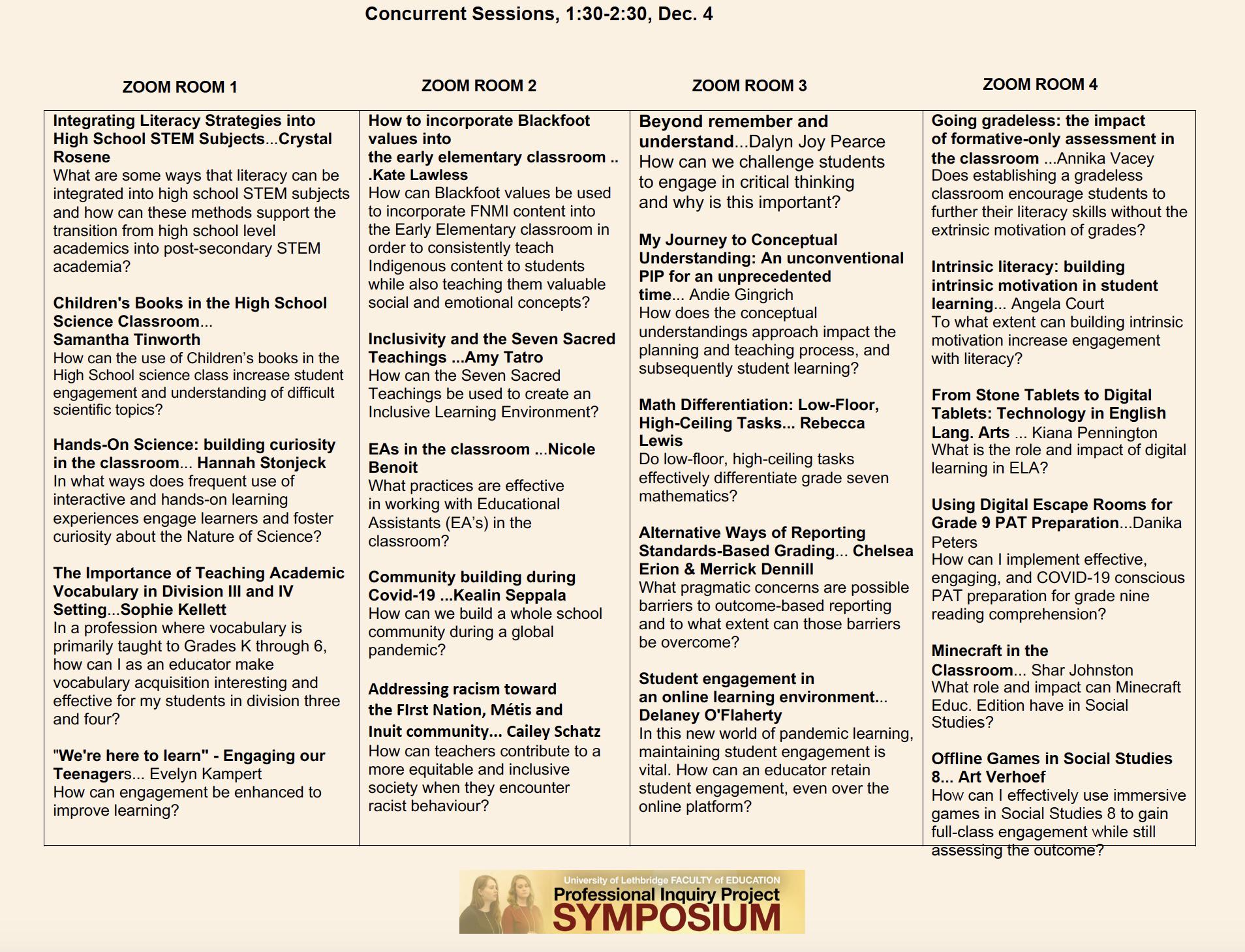 Schedule of Presenters