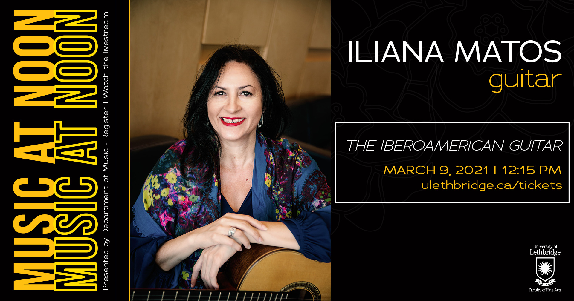 Music at Noon concert series presents Iliana Matos online, March 9, 2021 at 12:15 pm.