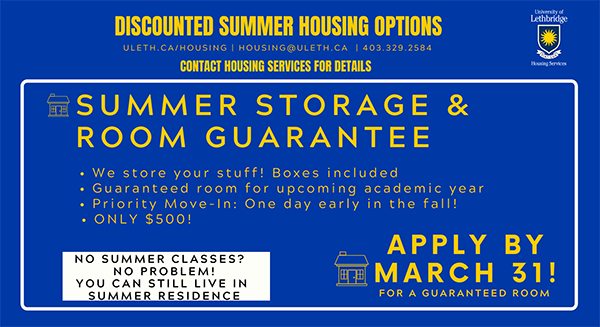 Summer storage and a room guarantee
