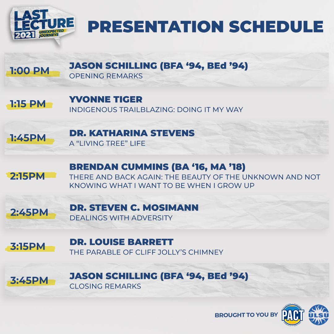 Last Lecture Schedule