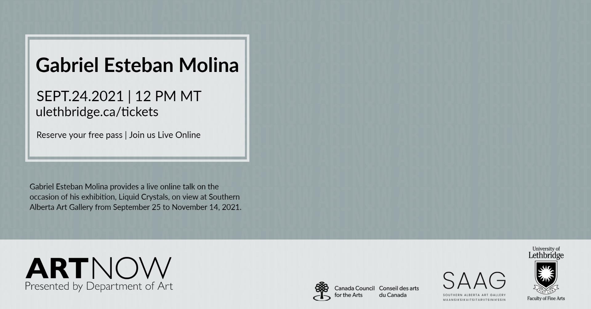 Gabriel Esteban Molina speaks in the Art NOW series - online talk