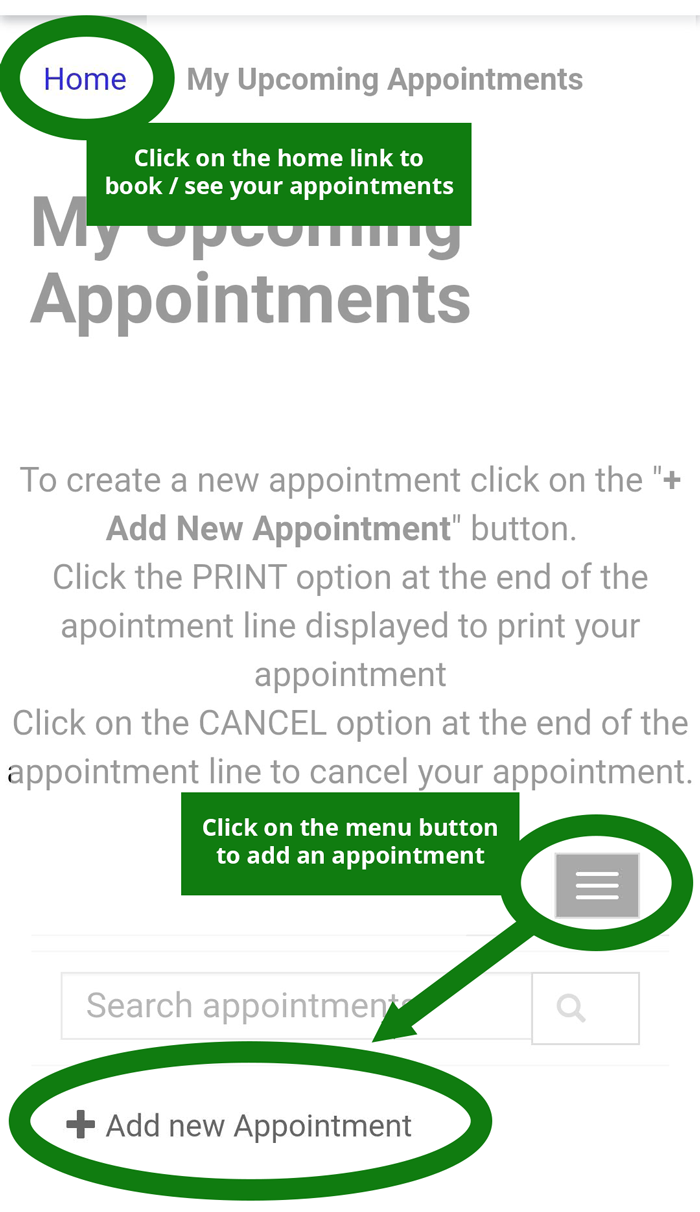 Screenshot of the page to book an appointment