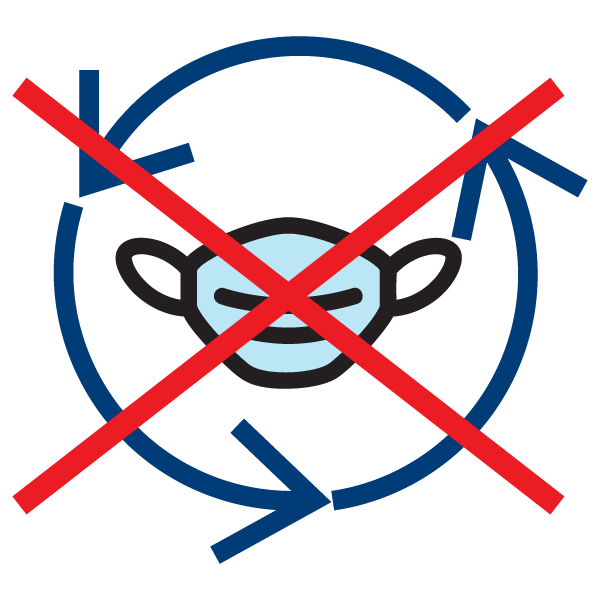 Disposable mask with recycle icon and an X over top
