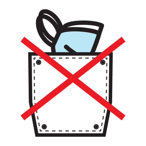 Icon of mask in pocket with an X on it