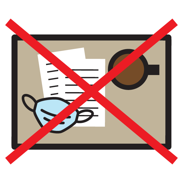 Icon of mask on table with papers and cup, and an X over it