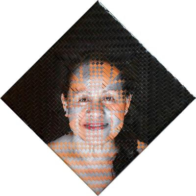 woven self-portrait with both colour and greyscale strips