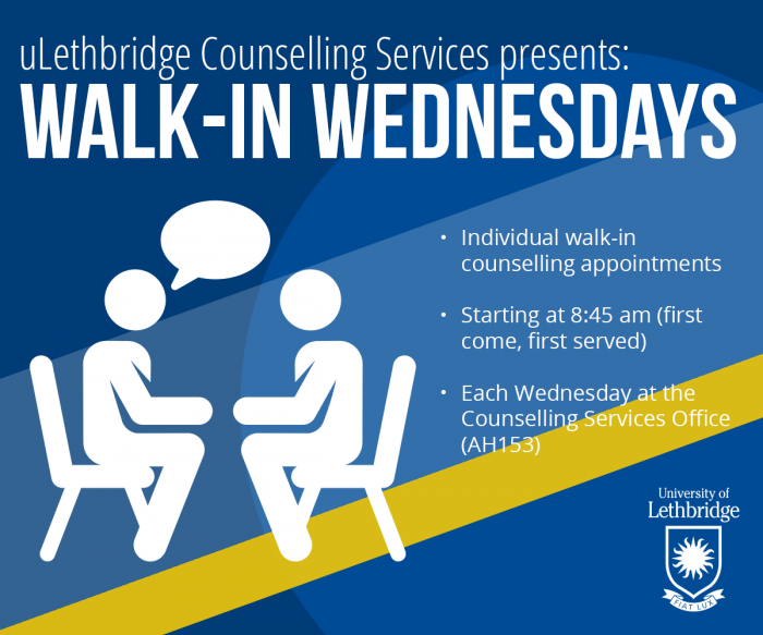 Walk-in Counselling on Wednesdays. Visit AH153