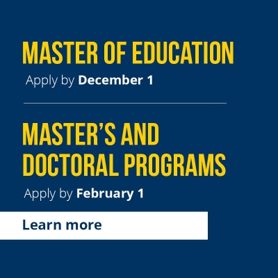 Master of Education Apply By December 1
