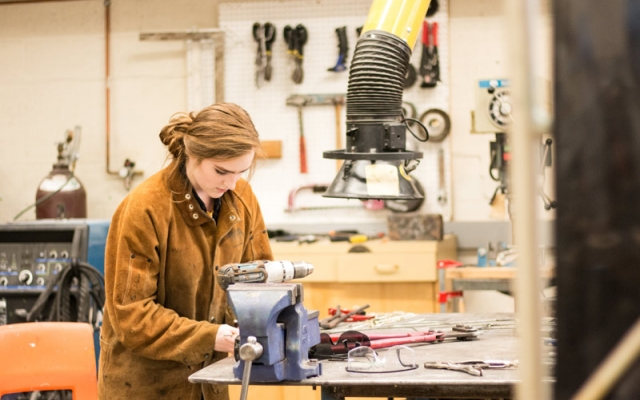 student working at bench