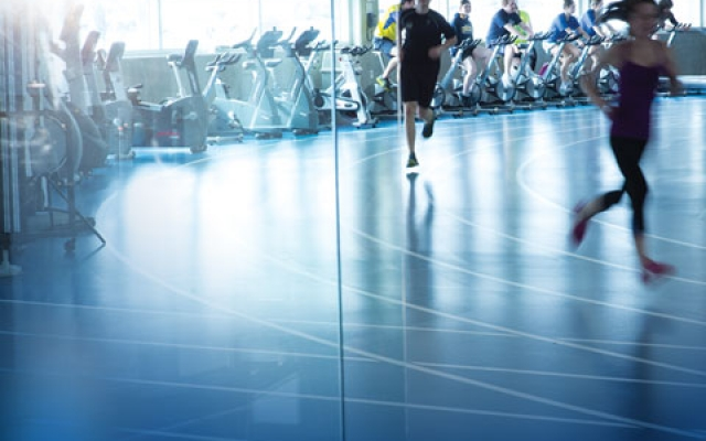 Running around indoor track