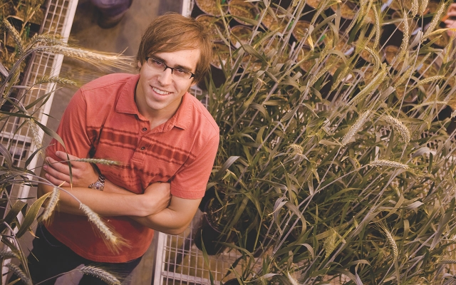 Student with crops in greenhouse