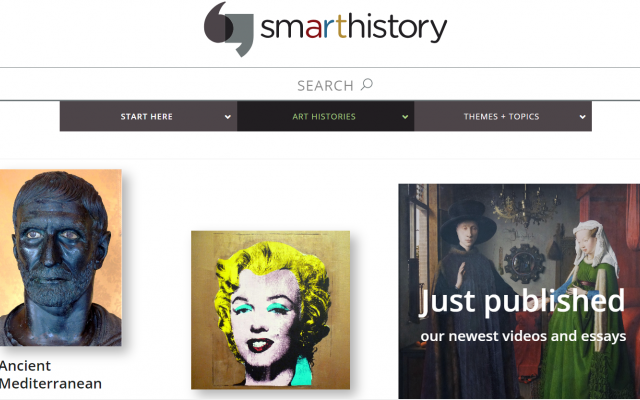 this is a screenshot of one of the websites used in the art history course as a free resource
