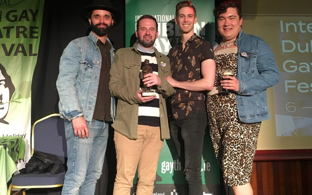 Jay Whitehead's Theatre Outre accepting award at the International Dublin Gay Theatre Festival