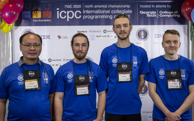 Dr. Howard Cheng, fourth-year students, Roddy MacCrimmon (computer science), Josip Smolcic (mathematics) and Joshua Swidinsky (computer science)