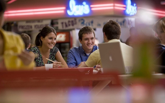 Students in food court on campus
