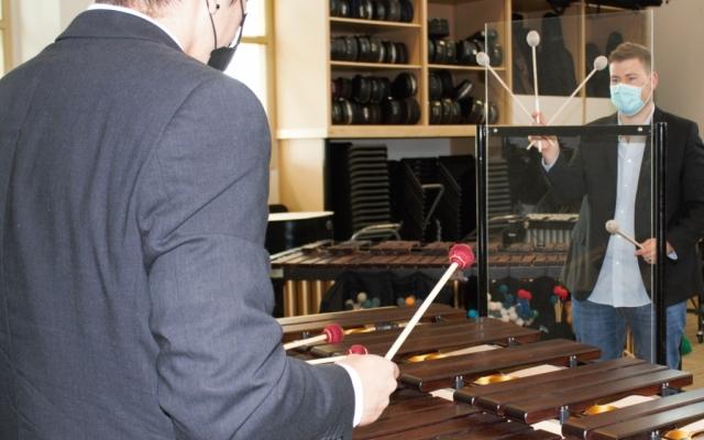 Percussion Lesson with Plexiglass Divider