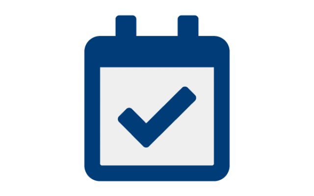 Icon of a calendar with a checkmark in it