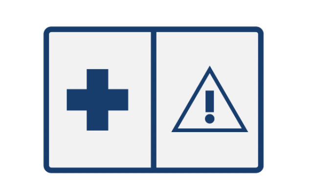 Icon of a warning icon and health cross