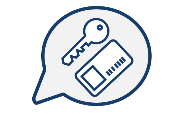 Icon of a key and a card in a chat bubble