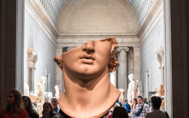 The picture shows a derelict ancient bust to illustrate the old age of philosophy