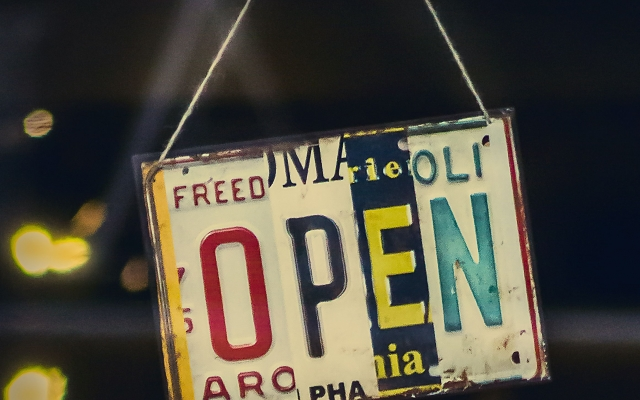 This pictures show an OPEN sign