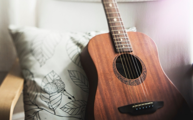 Acoustic guitar on a chair