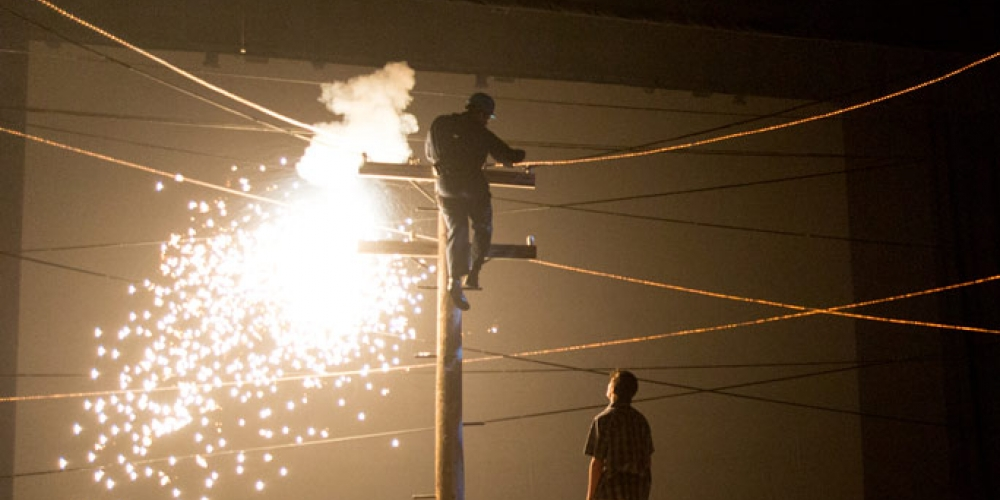 sparks coming from power pole