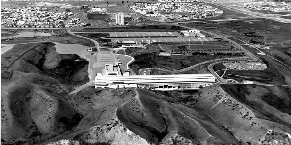 Aerial image of campus in 1972