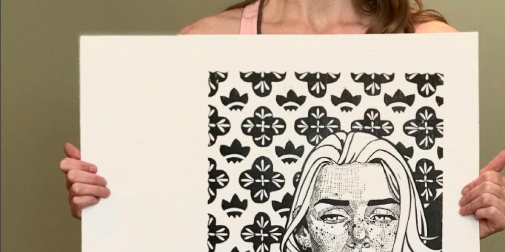 Sandy Latrace, Linocut Self-portrait