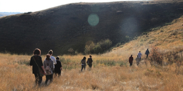 students walking up coulee