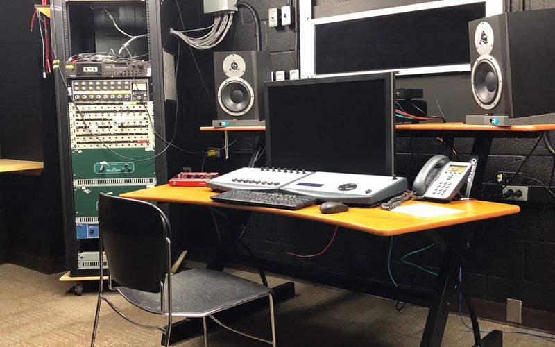Computer, mixing board, and speakers